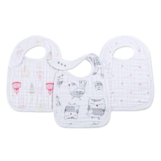 BABY EMPIRE - ADEN ANAIS - 3 PACK - CLASSIC SNAP BIB - SLABBER BAYI - LOVEBIRD