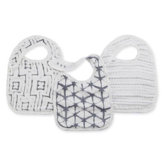 BABY EMPIRE - ADEN ANAIS - 3 PACK - SILKY SOFT SNAP BIB - SLABBER BAYI - PEBBLE SHIBORI
